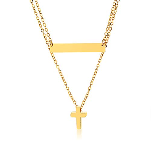 (Szory Stainless Steel Gold Plated Layered Necklaces for Women Two-Layer(bar&Cross))