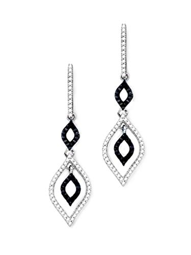 10k White Gold Marquise 1/2 Carat Diamond Hoop Earrings with Removable Dangle (0.5 Ct Marquise Diamond)