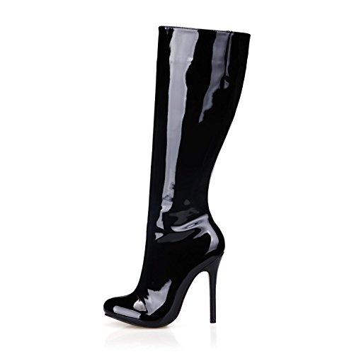Best 4U® Stivali da donna Suola di gomma Suola in pelle tonda 12CM Stivali alti al ginocchio con tacco alto Nero invernale