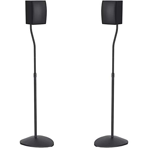 PERLESMITH Adjustable Height Speaker Stands-Extends 31-48 Inch-Hold Small Satellite & Bookshelf Speakers Weight up to 6lbs - Sleek Looking Fit for Speakers with or without Holes -1 Pair (Model: PSSS3)