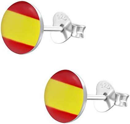 laimons – Pendientes para mujer joyería femenina España Bandera Diseño Placa Plata de ley 925: Amazon.es: Joyería
