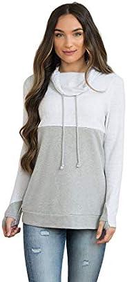 NURSING QUEEN Cowl Neck Colorblock Nursing Pullover Top - Gray/Light Gray