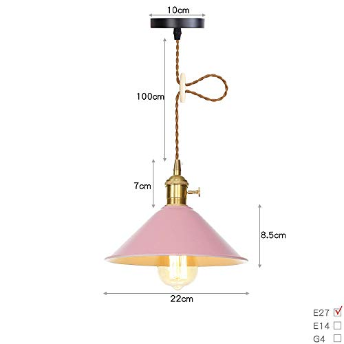 Ganeep Retro Color Switch Pendant Lights Metal Copper Lamp Holder E27 Edison Hanging Lights LOFT 6-Color Wrought Iron Shade Chandelier for Restaurant Bar Cafe Clothing Store (Color : Pink) ()