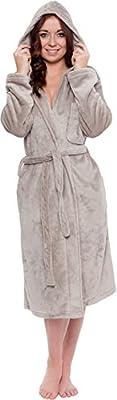 Silver Lilly Lightweight Hooded Kimono Robe for Women - Plush Comfy Bathrobe by (Sizes Small - Plus Size XXL)