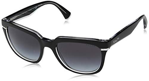 Ralph by Ralph Lauren Women's Plastic Woman Sunglass Polarized Square, Black Crystal, 53 ()