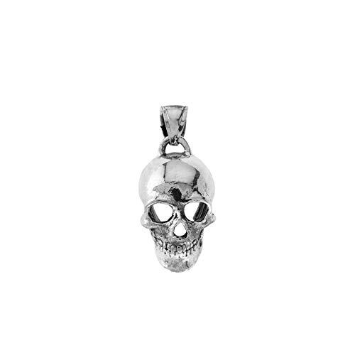 - Elegant Oxidized Sterling Silver Classic Skull Pendant