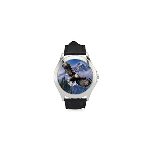 Special Design American Pride the Bald Eagle Pattern, Cool Eagle Custom Unisex Classic Leather Strap Watch, Metal Case, Tempered Glass, Black Leather - For Bald Round Face Glasses