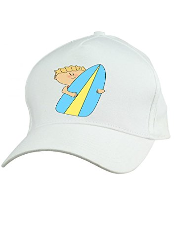 Bonnet pour enfant Blanc Surfer soleil. Réglable–Une Taille Adapte Tous.