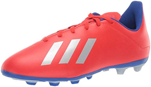 adidas Unisex X 18.4 Firm Ground, Active red/Silver Metallic/Bold Blue, 3.5 M US Big Kid (Adidas Kids Soccer Cleats)