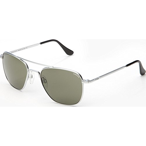 Randolph AVIATOR Matte Chrome Frame (Skull Temple Style) (Gray Polarized, 55mm) by Randolph Eyewear