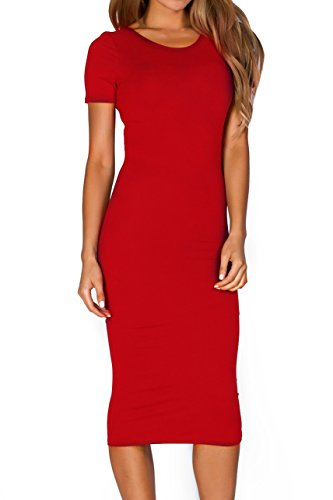 Women's Short Sleeve Crew Neck Midi Body Con Dress (Crimson, (Sassy Jersey Dress)