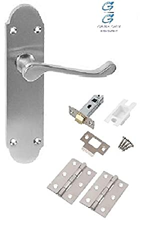 8 x Scroll Satin Chrome Door Handle Latch Set