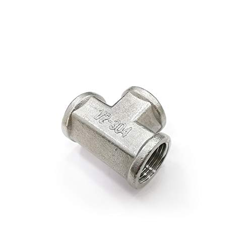 ORLEIMI Stainless Steel Pipe Fitting Tee Pipe Fitting NPT 1/2 Female Connector 3 Way Coupling Forged Union T Thread Adapter 304 Stainless Steel 1 Piece