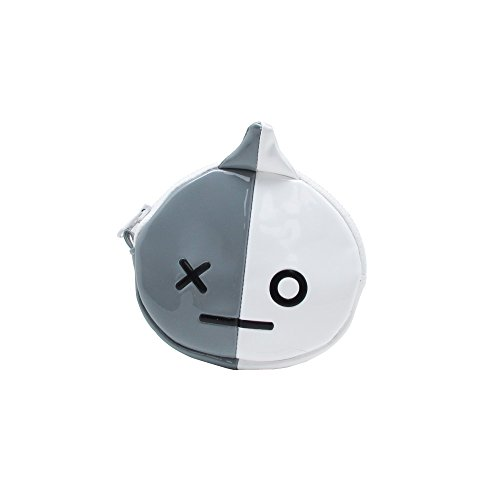 (BT21 Official Merchandise by Line Friends - VAN Character Enamel Coin Purse Wallet Money Holder with Zipper, Grey/White)
