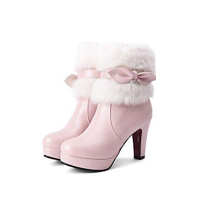 US9 RTRY Polipiel Botines CN41 Vestimenta Rosa EU40 Zapatos Mujer Puntera Redonda Botas Bowknot Botines Moda De UK7 Casual Para Chunky Invierno Rubor Talón Botas twRw4rq