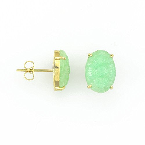 14kt Yellow Gold Oval Carved Green Jade Earrings (Earrings Jade Oval 14kt Green)