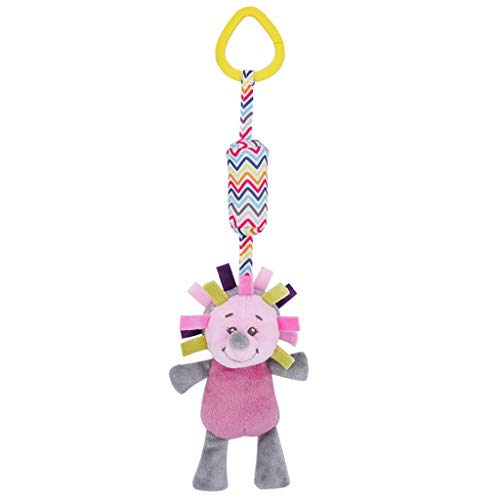 AMOFINY Toys Animal Wind Chime Bed Bell Plush Toy Newborn Soft Baby Teddy Bear Puppet Toy Gift Snuggle Baby Comforter Blanket