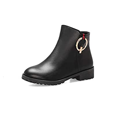 BalaMasa Womens ABS13923 Block Heel Closed-Toe Travel Black Leather Boots - 2 UK (Lable:33)
