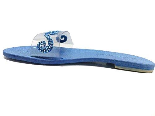 Eddy Daniele 37 EU Sandalias Mujer Azul Gamuza Plástico Cristales Swarovski AW471 MtGpOaakC