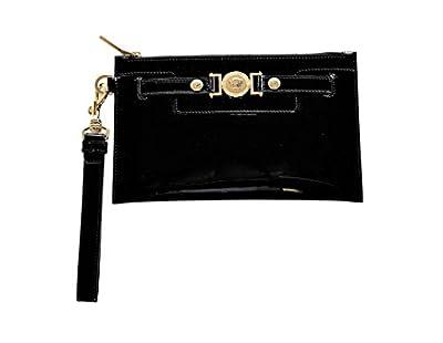 Versace Women's Medusa Buckle Patent Leather Clutch DP8E592 DVRNX D410C Black