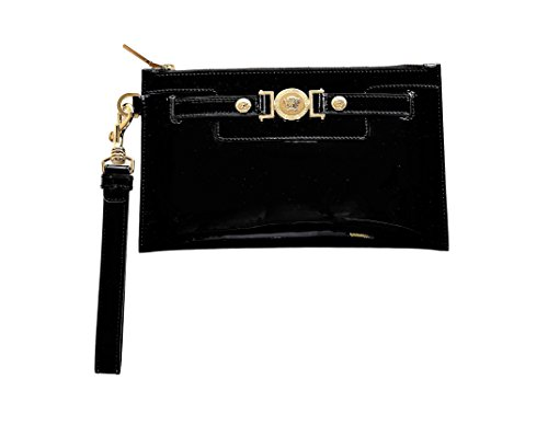 Versace Patent Leather - Versace Women's Medusa Buckle Patent Leather Clutch DP8E592 DVRNX D410C Black