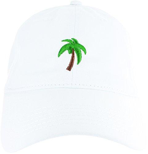 Essencial Caps Dad Hat Cap - Palm Tree Emoji Embroidered Adjustable White Baseball Cap -