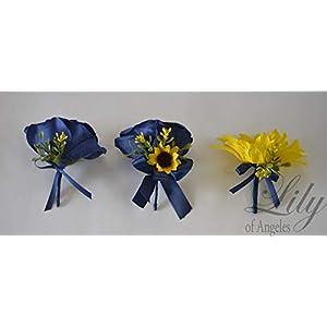 Wedding Bouquet, Bridal Bouquet, Bridesmaid Bouquet, Silk Flower Bouquet, Wedding Flower, Yellow, Sunflower, mini Sunflower, navy blue, blue, dark blue, navy, burlap, rustic, greenery, Lily of Angeles 4