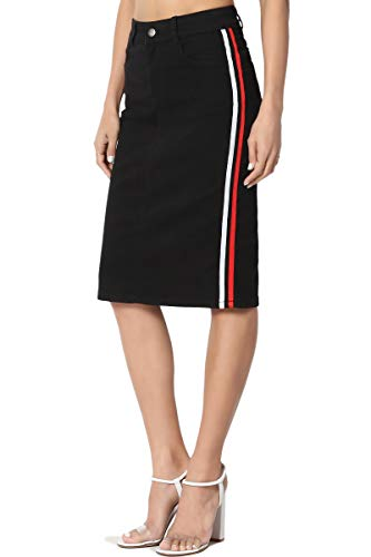 TheMogan Women's Contrast Side Stripe Mid Rise Stretch Denim Midi Skirt Black - Jeans Pocket 3 Stretch