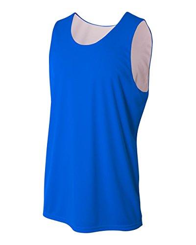 Royal/White Youth Medium (Blank) Reversible Sleeveless Wicking Tank Sports Jersey ()