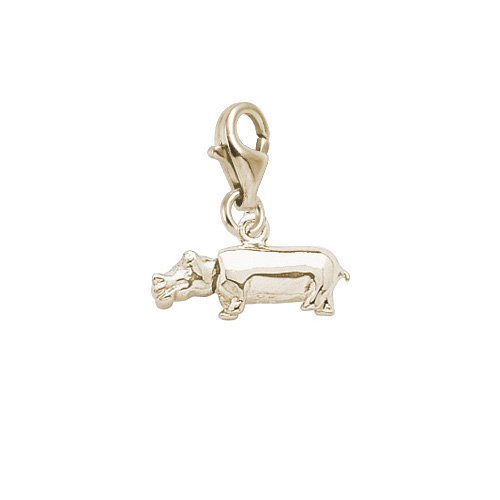 10K Yellow Gold Rembrandt Charms Hippo Charm with Lobster Clasp