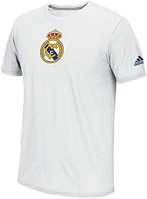 adidas Real Madrid FC S/S de la Escudo del Equipo Hombres Rendimiento Camiseta – Blanco, Real Madrid, Blanco: Amazon.es: Deportes y aire libre