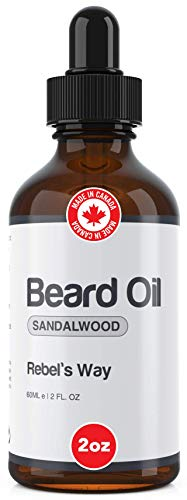 Sandalwood Beard Oil Made in Canada (2oz - 60ml) Light Scent - 100% Natural Beard and Mustache Leave-in Conditioner and Softener for Fuller and Thicker Growth. Best Organic Beard Care Grooming Moisturizer
