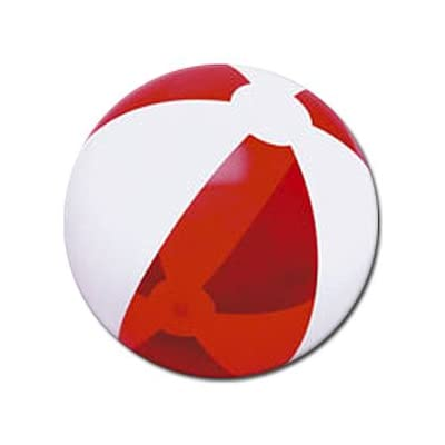 Beachballs - 16'' Translucent Red & White Beach Ball: Sports & Outdoors