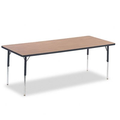 - Virco 4000 Series Adjustable Height Rectangular Activity Table, Medium Oak/Charblack & Chrome