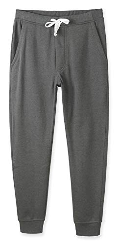 HETHCODE Mens Classic Fit Basic Fleece Closed-Bottom Pocketed Joggers Sweatpants Heather Army M