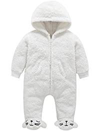 66117ce3d9 Infant Baby Boy Girl Bodysuit Long Sleeve White Jumpsuit Warm Sweater  Winter Clothes