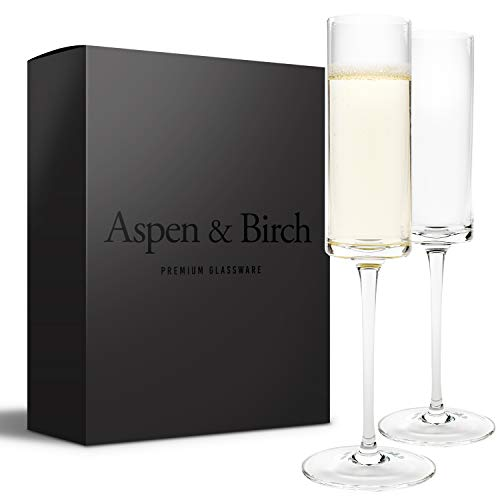 Aspen & Birch | Modern Champagne Flutes Set of 6 | Champagne Glasses | Mimosa Glasses | Hand Blown Glass Champagne Flutes | Clear | 6oz | 100% Lead Free Crystal Stemware |
