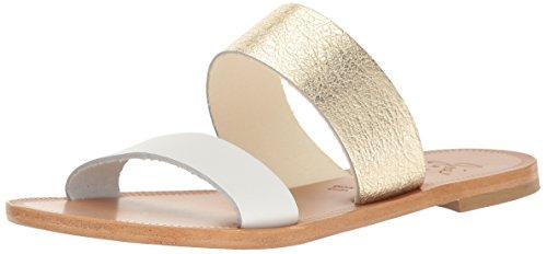 Joie Women's Sadie Flat Sandal, Bianco-Light Gold, 37 M EU (7 US)