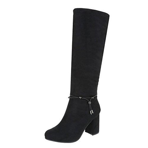 Zapatos para mujer Botas Mini tacón Botas clásicas Ital-Design Negro