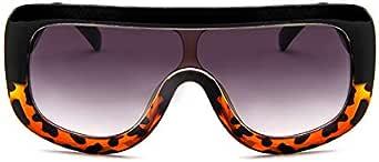 نظارات شمسية عصرية كبيرة الحجم للسيدات بإطار مربع مسطح كبير الحجم ومقاوم للأشعة فوق البنفسجية 400 أسود وبني, متعدد الألوان,