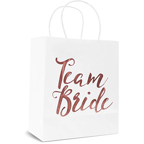 Bridesmaid Gift Bag - 15-Pack Team Bride White Paper Bag for Bachelorette Party Favors, Bridal Party Bags Includes Tissue Paper, Rose Gold Foil, 8 x 4 x 9 Inches -