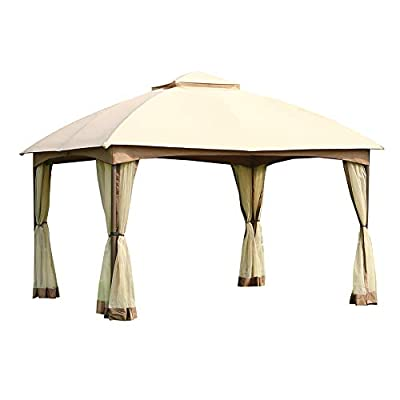 CROWN SHADES 10' x 12' Dome Gazebo with Mosquito Netting, Beige