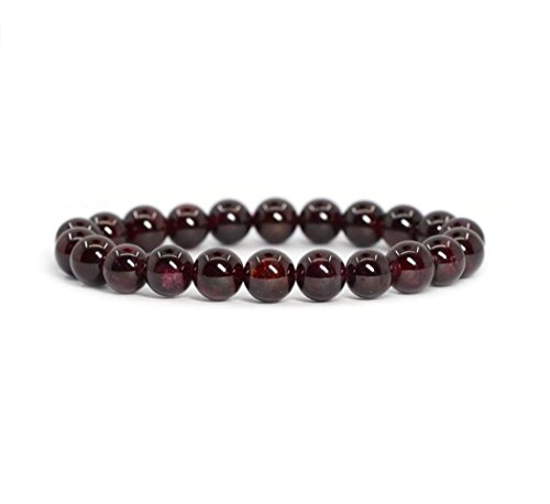Natural Garnet Bracelet 7.5 inch Stretchy Gemstone Bracelet Chakra Gems Stones Healing Crystal Great Gifts (Unisex) GB8B-8 ()