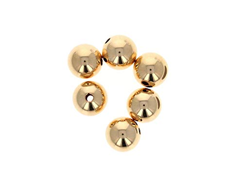 6 PCS, Gold Filled Beads, 10mm Round Beads, Seamless Gold Fill Beads, 14k 14/20 ()