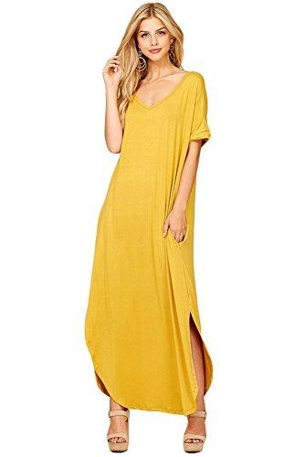 - Women's Long Split Maxi Dress Casual Loose V Neck Short Sleeve Beach with Pockets - Mustard (3X)
