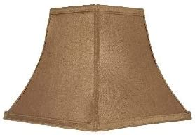 Upgradelights Tan Silk 8 Inch Square Bell Clip on Lampshade Replacement 4x8x7