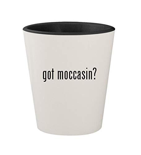 (got moccasin? - Ceramic White Outer & Black Inner 1.5oz Shot Glass)