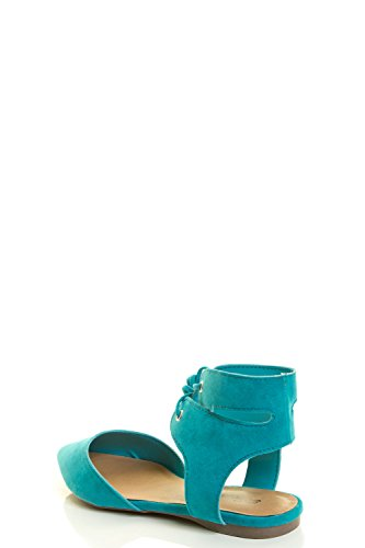 Breckelles Ponity Strappy Laceup Toe Cuff Flat Wrap Leg Womens Turquoise Ankle Ballet Ballerina ZrW5qgZc