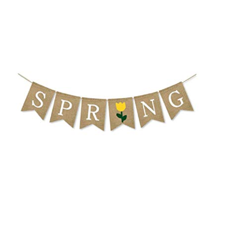 Spring Banner Burlap Bunting Banners Garland for Celebrating of Spring -