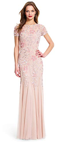 Adrianna Papell Women's Floral Beaded Godet Gown, Blush, 14